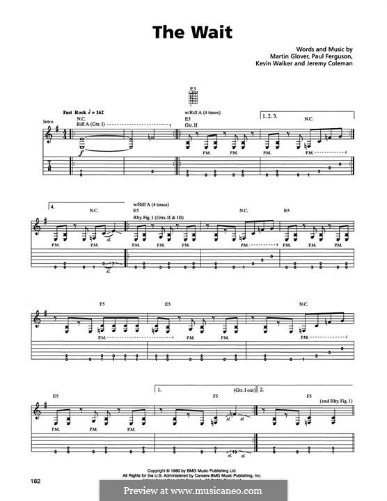 The Wait (Metallica): For guitar with tab by Jaz Coleman, Kevin Walker, Martin Glover, Paul Ferguson