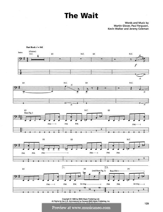 The Wait (Metallica): For bass guitar with tab by Jaz Coleman, Kevin Walker, Martin Glover, Paul Ferguson