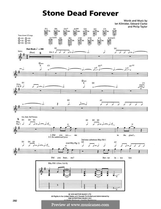 Stone Dead Forever (Metallica): For guitar with tab by Edward Clarke, Ian Kilmister, Philip Taylor