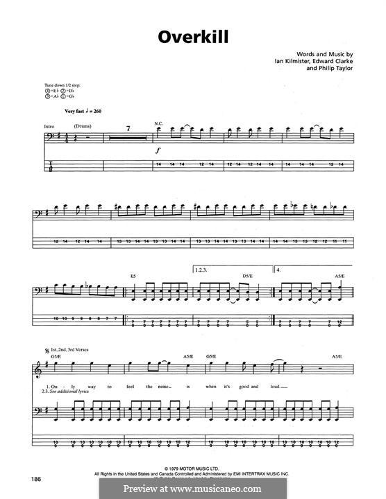 Overkill (Metallica): For bass guitar with tab by Edward Clark, Ian Kilmister, Philip Taylor