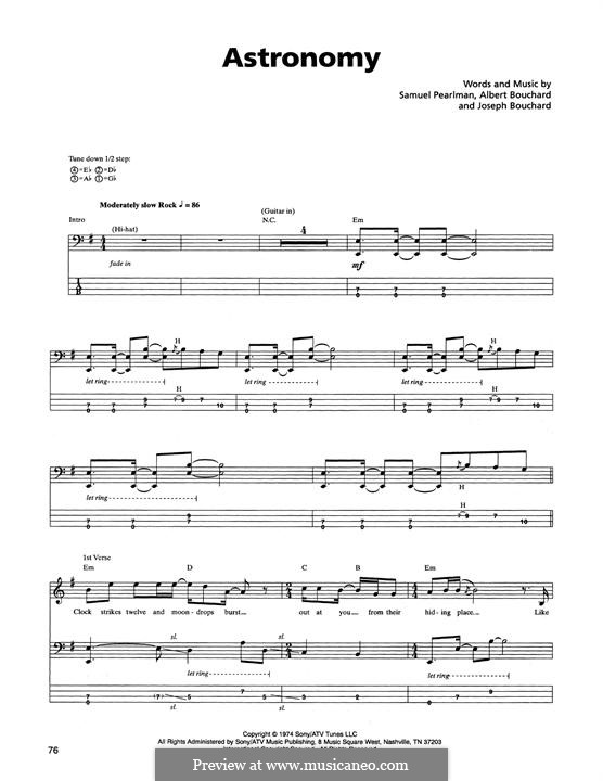Astronomy: For bass guitar with tab (Blue Oyster Cult) by Albert Bouchard, Joseph Bouchard, Sandy Pearlman