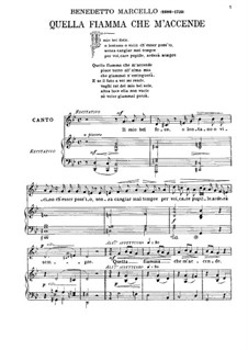 Il mio bel foco: For voice and piano by Benedetto Marcello