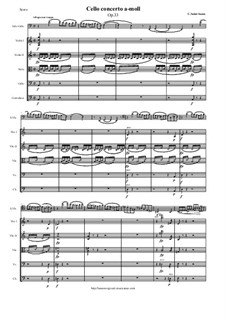 Concerto for Cello and Orchestra No.1 in A Minor, Op.33: Version for cello and string orchestra - score and orch. parts by Camille Saint-Saëns
