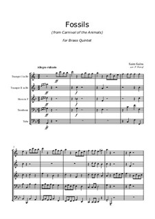 Fossils: For brass quintet by Camille Saint-Saëns