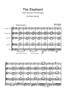 The Elephant: For brass quintet by Camille Saint-Saëns