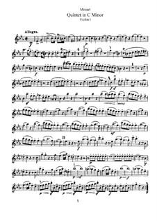 String Quintet No.2 in C Minor, K.406/516b: Violin I part by Wolfgang Amadeus Mozart