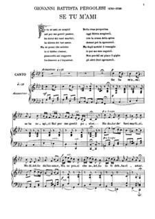 Se tu m'ami, se sospiri: For voice and piano by Giovanni Battista Pergolesi