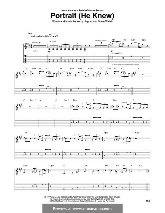 Portrait (He Knew): For guitar with tab (Kansas) by Kerry Livgren, Steve Walsh