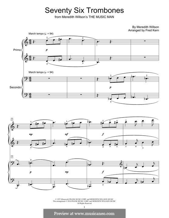 Seventy Six Trombones: For piano by Meredith Willson