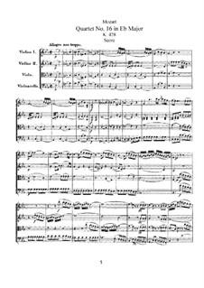 String Quartet No.16 in E Flat Major, K.428: Full score by Wolfgang Amadeus Mozart
