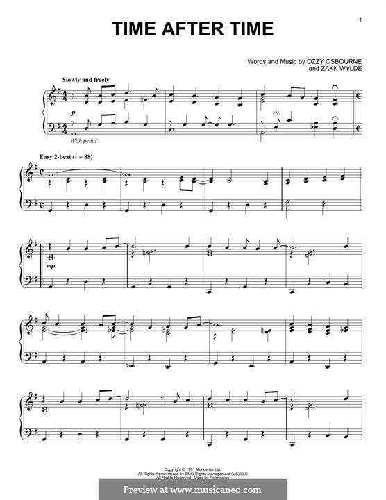 Time After Time (Ozzy Osbourne): For piano by Zakk Wylde