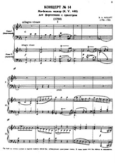 Concerto for Piano and Orchestra No.14 in E Flat Major, K.449: Arrangement for two pianos four hands by Wolfgang Amadeus Mozart