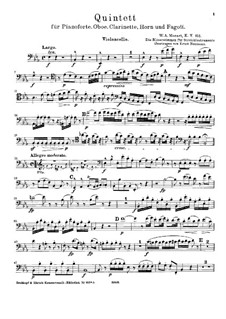 Quintet for Winds and Piano in E Flat Major, K.452: Arrangement for strings – cello part by Wolfgang Amadeus Mozart