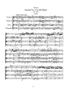 String Quartet No.17 in B Flat Major 'Hunt' , K.458: Full score by Wolfgang Amadeus Mozart