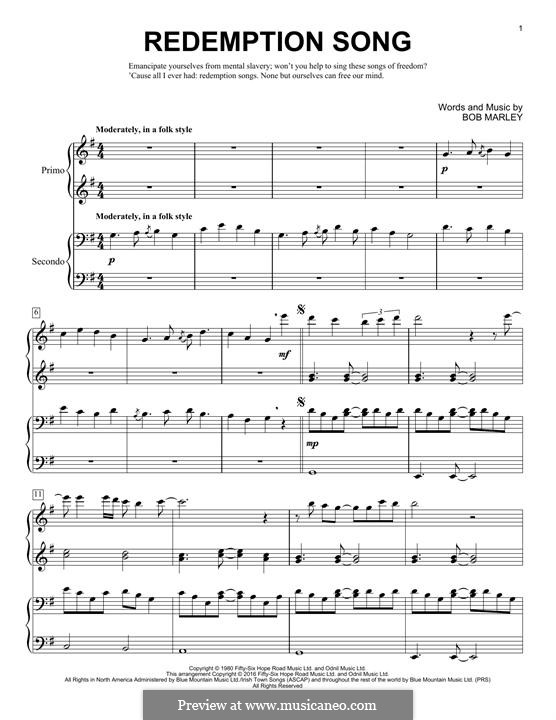 Redemption Song: For piano by Bob Marley