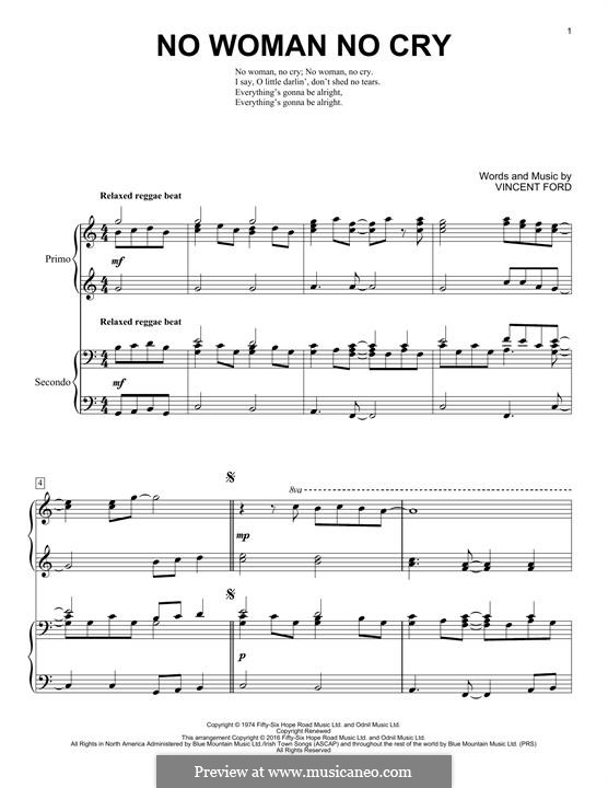 No Woman No Cry (Bob Marley): For piano by Vincent Ford