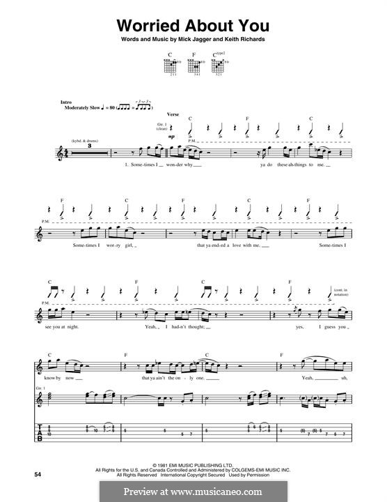 Worried About You (The Rolling Stones): For guitar with tab by Keith Richards, Mick Jagger