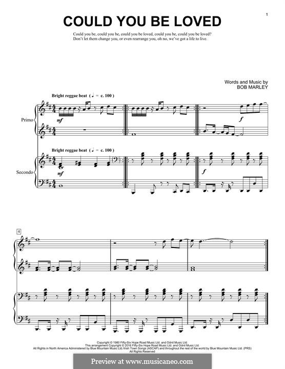 Could You Be Loved (Bob Marley and The Wailers): For piano by Bob Marley