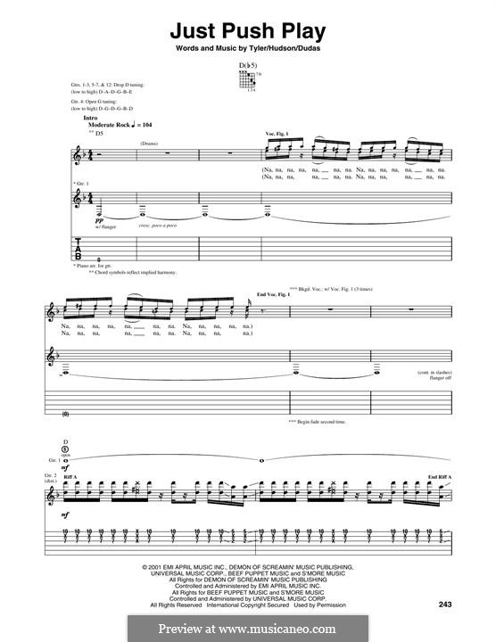 Just Push Play (Aerosmith): For guitar with tab by Mark Jeffrey Hudson, Stephen Emil Dudas, Steven Tyler