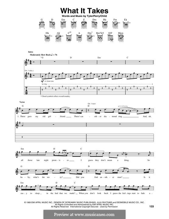 What It Takes (Aerosmith): For guitar with tab by Joe Perry, Steven Tyler