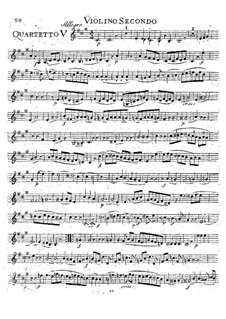 String Quartet No.18 in A Major, K.464: Violin II part by Wolfgang Amadeus Mozart
