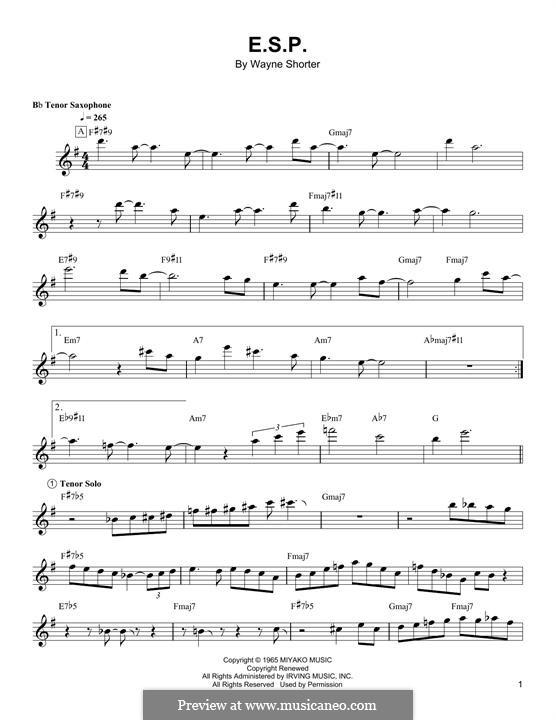 E.S.P.: For tenor saxophone by Wayne Shorter