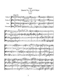 String Quartet No.20 in D Major 'Hoffmeister', K.499: Full score by Wolfgang Amadeus Mozart