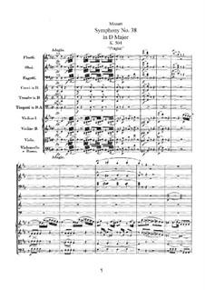 Symphony No.38 in D Major 'Prague', K.504: Full score by Wolfgang Amadeus Mozart