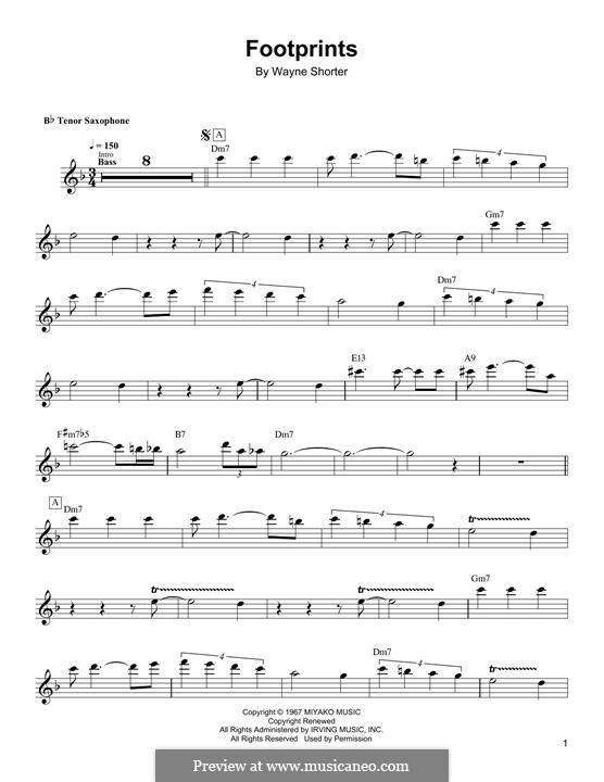 Footprints: For tenor saxophone by Wayne Shorter