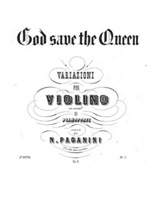 God Save the Queen for Violin and Piano, Op.9: Score, solo part by Niccolò Paganini