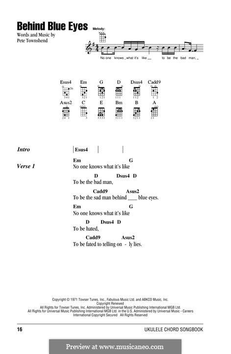 Behind Blue Eyes (Limp Bizkit): For ukulele by Peter Townshend