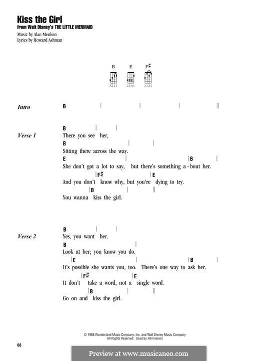 Kiss the Girl (from The Little Mermaid): For ukulele by Alan Menken