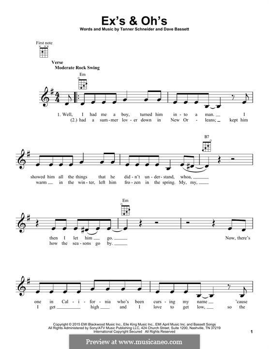 Ex's & Oh's (Elle King): For ukulele by Dave Bassett, Tanner Schneider