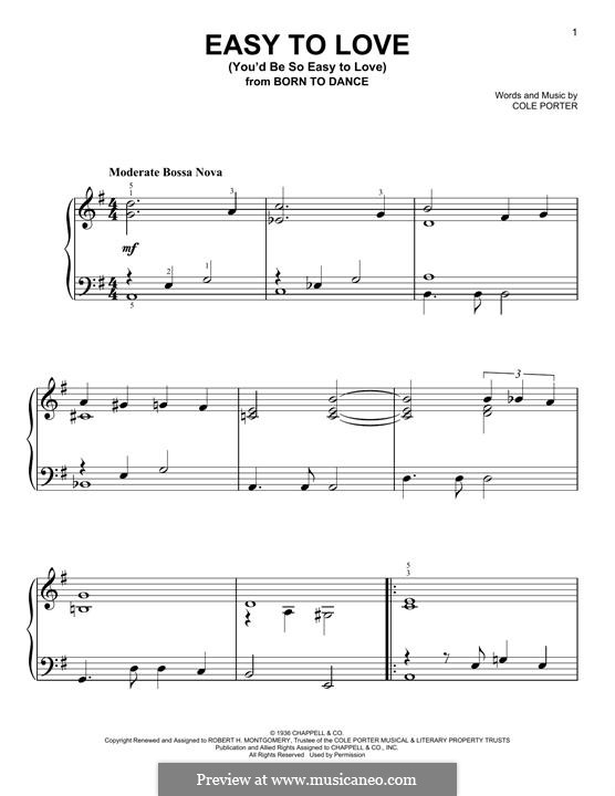 Easy to Love (You'd Be So Easy to Love): For piano by Cole Porter