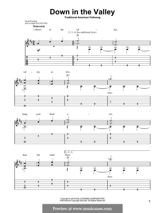 Down in the Valley: For guitar with tab by folklore