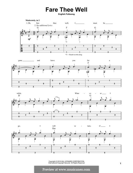 Fare Thee Well: For guitar by folklore