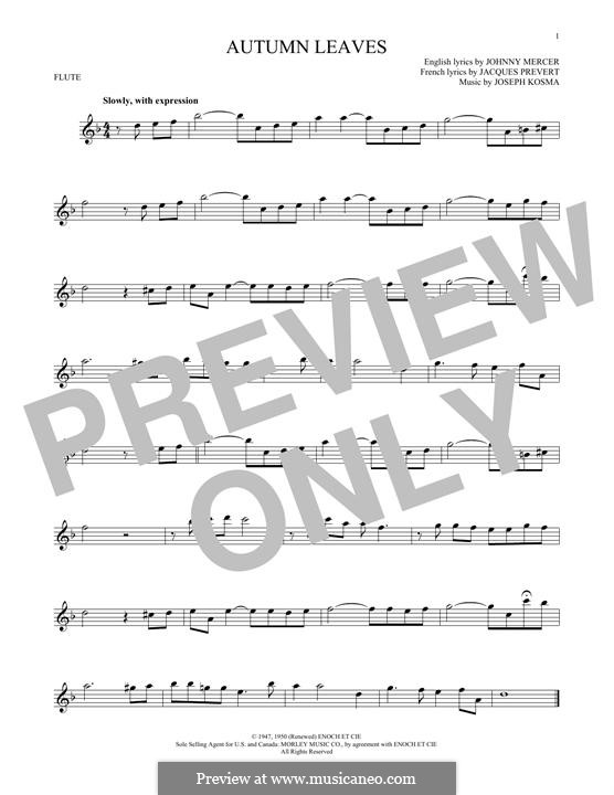 Autumn Leaves (Les Feuilles Mortes): For flute by Joseph Kosma