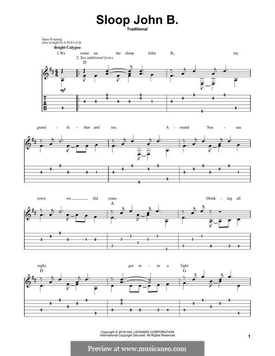 Sloop John B (The Beach Boys): For guitar with tab by folklore