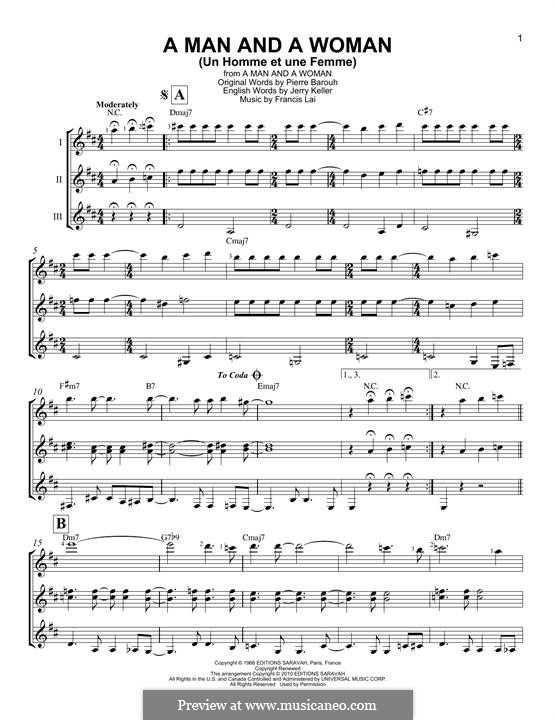 A Man and a Woman (Un Homme Et Une Femme): For any instrument by Francis Lai