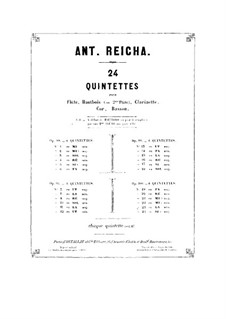 Woodwind Quintet in A Major, Op.91 No.5: Clarinet part by Anton Reicha