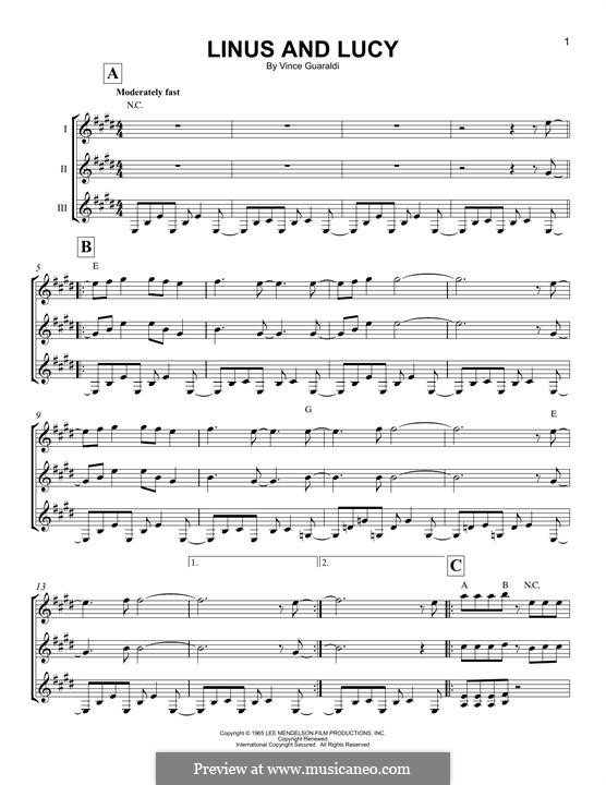 Linus and Lucy (from A Boy Named Charlie Brown): For any instrument by Vince Guaraldi