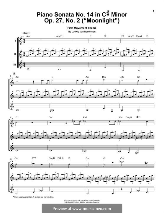 Movement I (Printable scores): Theme, for any instrument by Ludwig van Beethoven