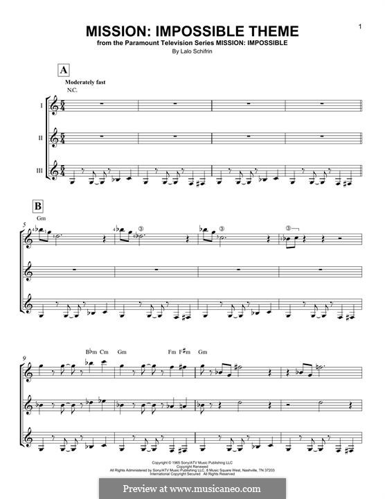 Mission: Impossible Theme: For any instrument by Lalo Schifrin