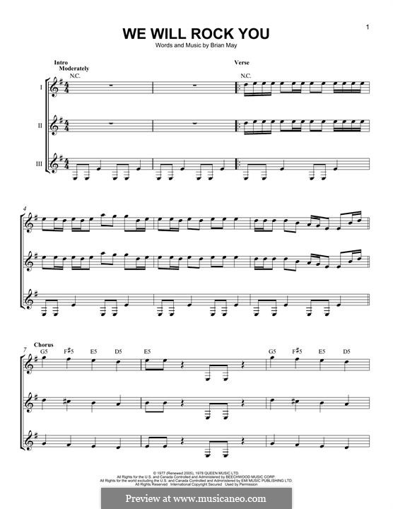 We Will Rock You (Queen): For any instrument by Brian May