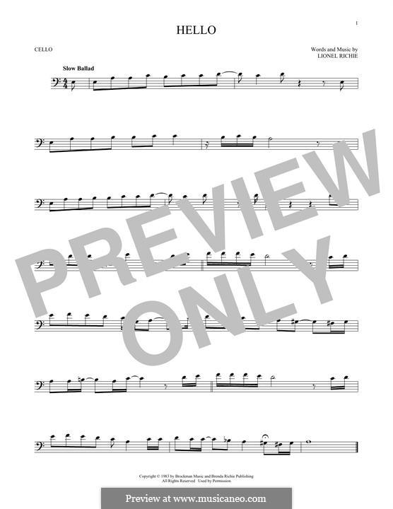 Hello: For cello by Lionel Richie