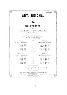 Woodwind Quintet in F Minor, Op.99 No.2: Oboe part by Anton Reicha