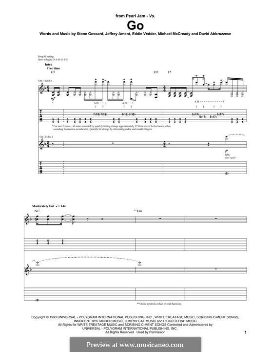 Go (Pearl Jam): For guitar with tab by David Abbruzzese, Eddie Vedder, Jeff Ament, Mike McCready, Stone Gossard