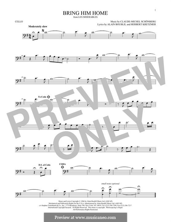 Bring Him Home: For cello by Claude-Michel Schönberg