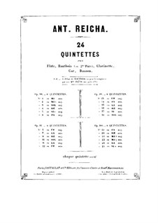Woodwind Quintet in G Major, Op.99 No.6: Oboe part by Anton Reicha