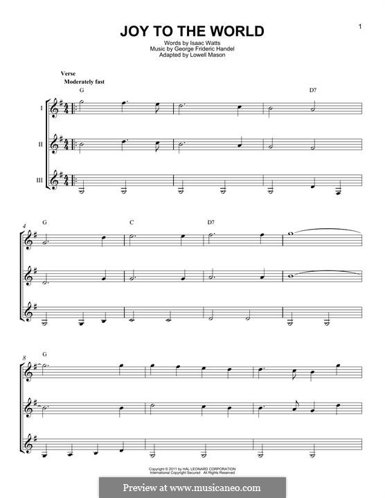 Joy to the World (Printable Scores): For any instrument by Georg Friedrich Händel
